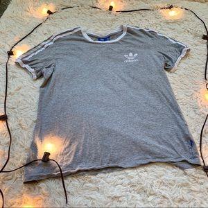 Adidas gray trefoil logo athletic tee shirt